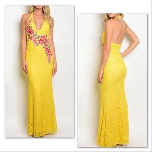 Red Roses on Daffodil Yellow Lace Formal Gown